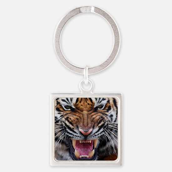 Tiger Mad Square Keychain