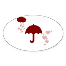 Red Umbrella Hearts Decal
