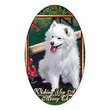 Japanese Spitz Dog Christmas Decal
