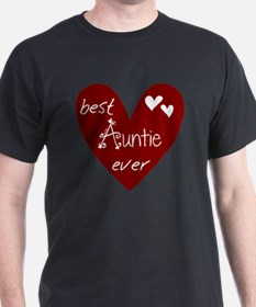 Red Heart Best Auntie Ever T-Shirt
