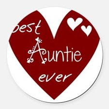 Red Heart Best Auntie Ever Round Car Magnet
