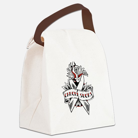 Cancer Sucks Tattoo  Canvas Lunch Bag
