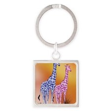 Blue and Purple Giraffes Square Keychain