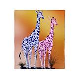 Purple giraffe Fleece Blankets