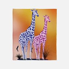 Blue and Purple Giraffes Throw Blanket