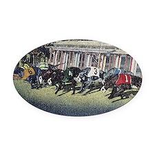 Greyhound Racing Oval Car Magnet