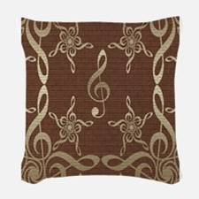 Treble Clef Star Musical Woven Throw Pillow
