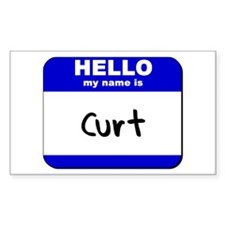 hello my name is curt Rectangle Decal