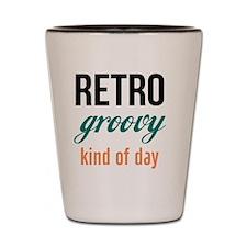 Retro Groovy (blue orange) Shot Glass
