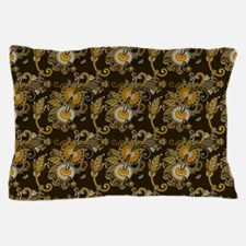 Gold and Brown Paisley Pillow Case