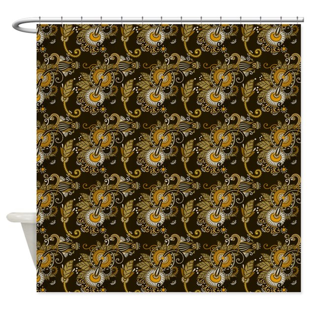 gold and brown paisley shower curtain by admin cp37802842. Black Bedroom Furniture Sets. Home Design Ideas