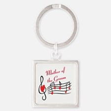 Mother Of Groom Music Notes Square Keychain