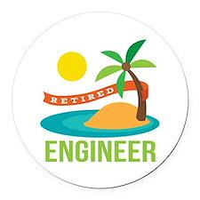 Retired Engineer Round Car Magnet
