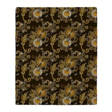 Gold and Brown Paisley Throw Blanket