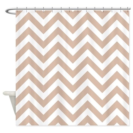 Tan And White Chevrons Shower Curtain By ShowerCurtainsWorld