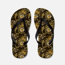 Gold and Brown Paisley Flip Flops