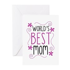 Cute Flowery Worlds Best Mom Greeting Cards