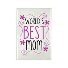 Cute Flowery Worlds Best Mom Magnets