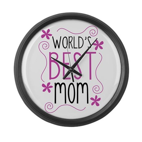 Cute Flowery Worlds Best Mom Large Wall Clock