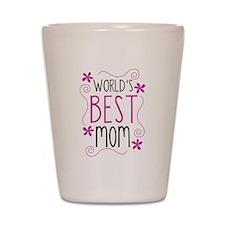 Cute Flowery Worlds Best Mom Shot Glass