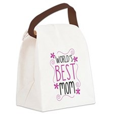Cute Flowery Worlds Best Mom Canvas Lunch Bag