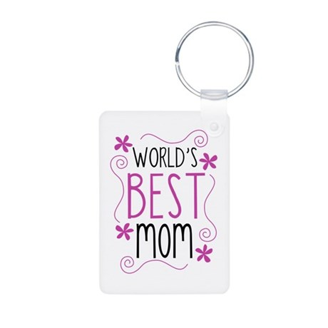 Cute Flowery Worlds Best Mom Keychains