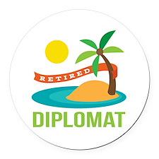 Retired Diplomat Round Car Magnet