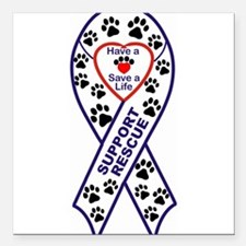 "Rescue_Ribbon_Magnet.jpg Square Car Magnet 3"" x 3"""