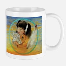 Indian Girl with Wolf Mugs