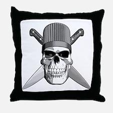 Skull Chef Knives Throw Pillow