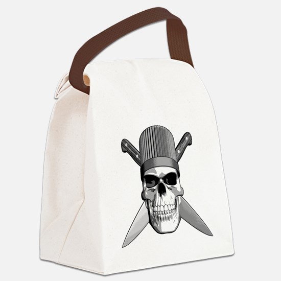 Skull Chef Knives Canvas Lunch Bag
