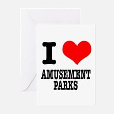 I Heart (Love) Amusement Parks Greeting Cards (Pac