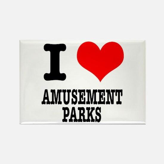 I Heart (Love) Amusement Parks Rectangle Magnet
