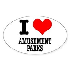 I Heart (Love) Amusement Parks Oval Decal