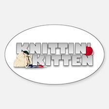 Knitting Knittin' Kitten Oval Decal