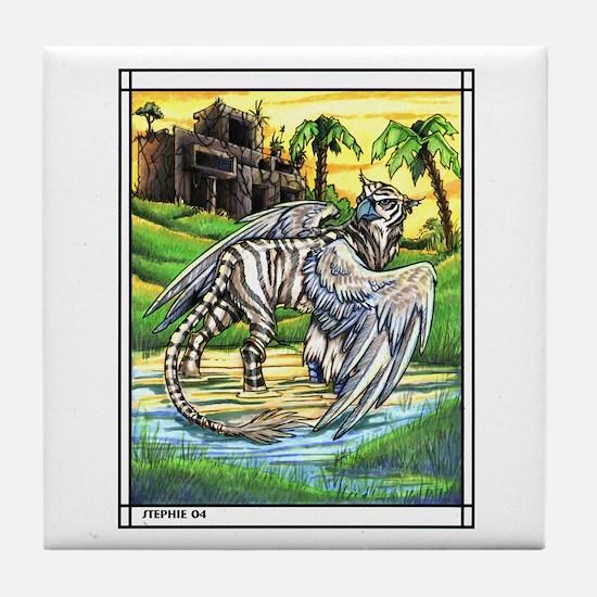 Tiger Griffen Fantasy Tile Coaster