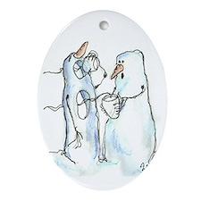 David Street Art ~ Snowmen Oval Ornament