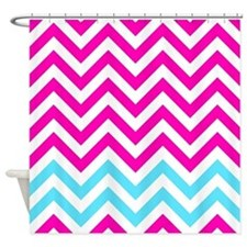 pink and light blue chevrons Shower Curtain