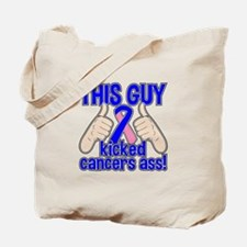 Male Breast Cancer This Guy Kicked Cancer Tote Bag