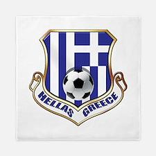 Greece Soccer Shield Queen Duvet