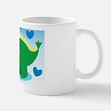Dinosaur green on a blue background Mug