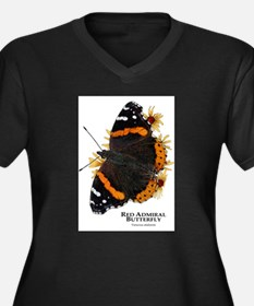 Red Admiral Butterfly Women's Plus Size V-Neck Dar