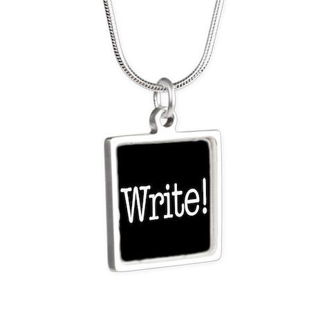 Write! Silver Square Necklace