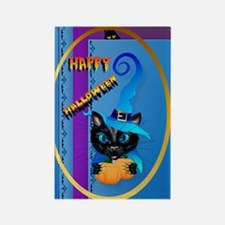 ornament_oval Happy Halloween-Wit Rectangle Magnet