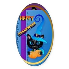 ornament_oval Happy Halloween-Witch Decal