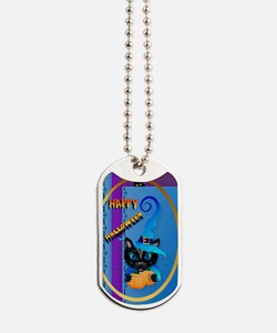 ornament_oval Happy Halloween-Witch Kitty Dog Tags