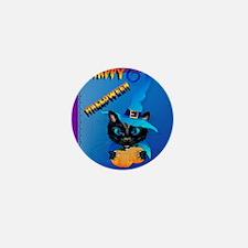 Pillow-Blue Happy Halloween-Witch Kitt Mini Button
