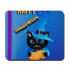 Pillow-Blue Happy Halloween-Witch Kitty Mousepad