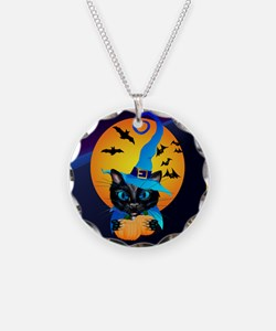 Pillow-Blue Witch Kitty -Har Necklace