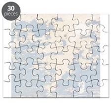 Baby Blue Chipped Paint Wooden Texture Puzzle